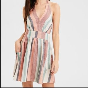 Halter Striped Dress With Pockets